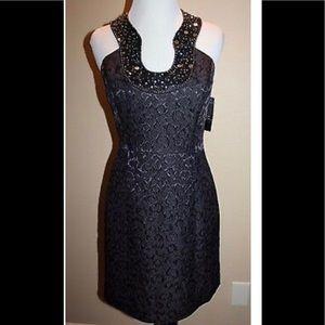 Shelli segal halter style key hole beaded dress